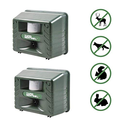 Animal Control - Aspectek Yard Sentinel 2 Pack Outdoor Ultrasonic Animal Control Pest Repeller - Includes AC Adapter, Extension Cord