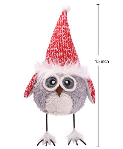 Amazlab Cute Christmas Plush Dancing Owl Standing Figurine with Spring, Splashing and Funny Home Holiday Decoration Ornaments