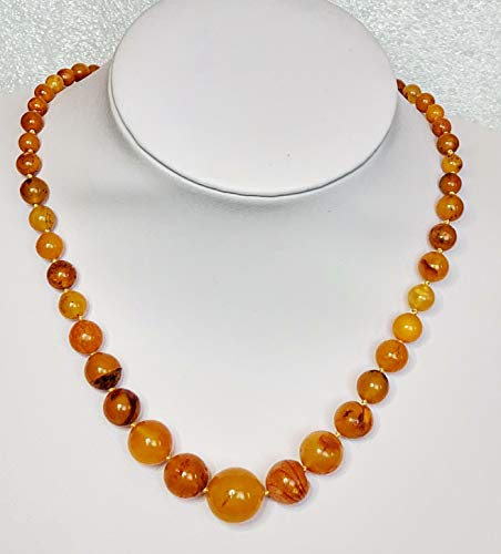 17g Certified Antique Egg Yolk Butterscotch Natural Baltic Amber Necklace Round Shape Beads ()