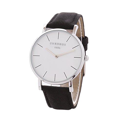 Simple Women Men Quartz Watch PU Leather Strap Ladies Gentlemen Dress WristWatch, Black-Silver Black Pu Strap Watch