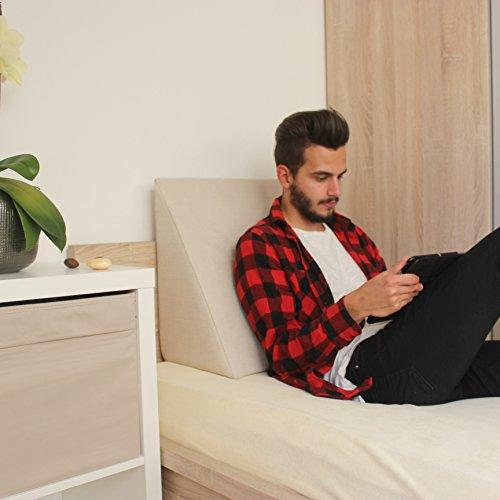 Keilkissen, Rückenstütze für Bett, Couch, Fernsehen und Tablet Relaxkissen, Lesekissen, Größe 60cm x 50cm Höhe 30cm weiß