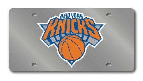Rico Industries NBA New York Knicks Laser Inlaid Metal License Plate Tag, Silver (New York Knicks Window)