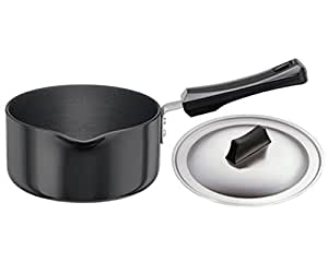 Hawkins Futura Hard Anodised Saucepan With Steel LID, 3.25mm Thick, 1 Litres, Black