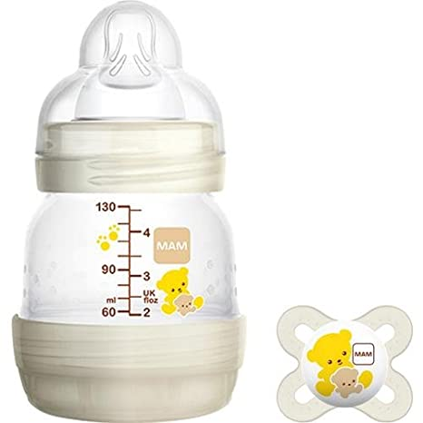 Set Biberón mam First Bottle 0 m + 130 ml blanco + Chupete MAM Start nanã² 0 – 2 m blanco