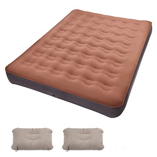 Air Mattress Queen, TOPELEK Inflatable Air Bed Mattress with with Electric Pump, 2 Inflatable Pillows, Storage Bags for Indoors and Outdoors Traveling Use