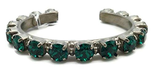 Sorrelli Green Round Cut Antique Silvertone Crystal Cuff Bracelet ()