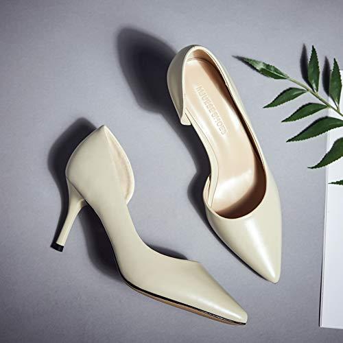 HRCxue Pumps Pumps Pumps Seite Schwarze Spitze High Heels weibliche Stiletto professionelle Arbeitsschuhe Wilde Schuhe mit einzelnen Schuhen 90c205