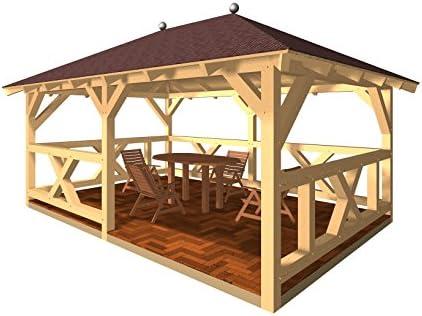 Clever-production - Cenador de madera con pasamanos, tejado ...