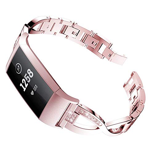 Aiiko for Fitbit Charge 3 Bands -X-Link Fashion Design Stainless Steel Metal Replacement Smart Watch Band Link Bracelet with Crystal Rhinestone Diamond Bling for Fitbit Charge 3 Tracker, Rose - Gold Fashion Bands Diamond