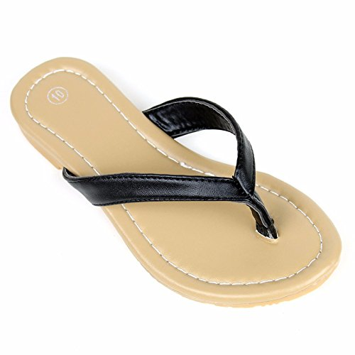Kids Thongs (Girls Kids Summer Comfort Casual Thong Flat Flip Flops Sandals Slipper (3, Black))