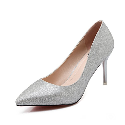 CHFSO Womens Sexy Sequins Stiletto Pumps Pointed Toe Shoes Dress Black Silver vcPW6ud