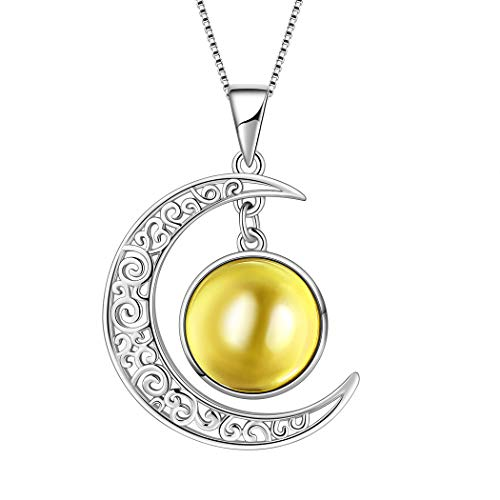 Aurora Tears November Birthstone Necklaces Women 925 Sterling Silver Crescent Moon Pendants Crystal Birthday Jewelry Kids Birth Stone Gifts DP0091N
