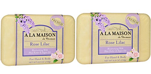 A La Maison de Provence Rose Lilac Soap Bar (Pack of 2) With Shea Butter, Coconut Oil and Argan Oil, 8.8 oz Each - Lilac Shea Butter