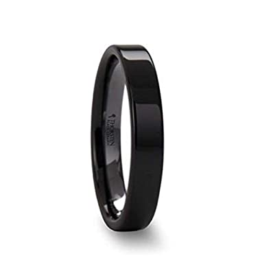 Thorsten FRAENER Pipe Cut Polish Finished Black Ceramic Wedding Ring 4mm Wide Wedding Band from Roy Rose Jewelry