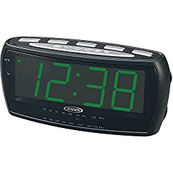 Jensen Compact AM/FM Alarm Clock Radio with Large Easy to Read Backlit LED Display