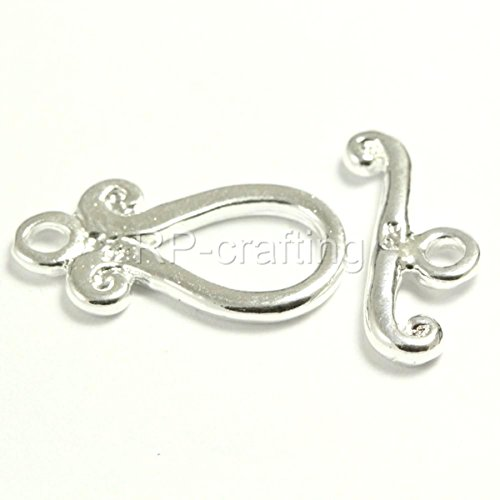Raindrop Toggle Clasp Beads Sterling Silver over Copper 10x20mm #CF23 (Clasps Drop Toggle)