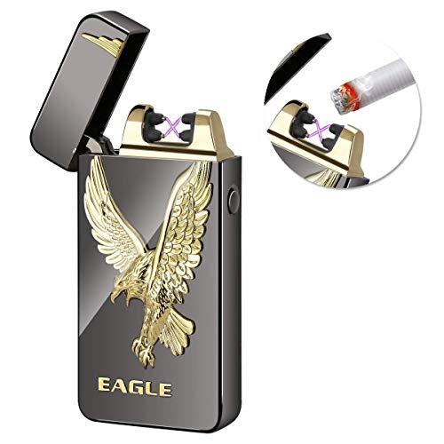 Kivors USB Rechargeable Flameless Electronic Dual Pulse Arc Cigarette Lighter Belief, Black Eagle