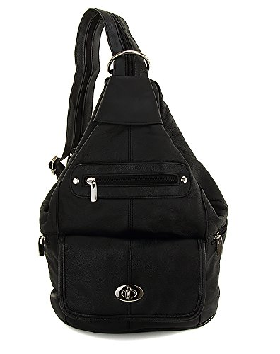 Womens Black Leather Convertible Sling Twist Lock Flap Backpack Bag with Key Ring Carabiner (Twist Leather Lock)