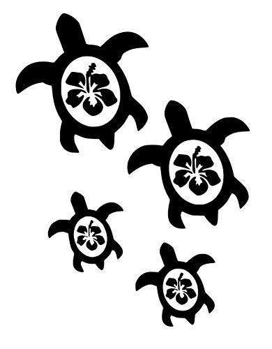UR Impressions MBlk Hibiscus Sea Turtle Family of Four Decal Vinyl Sticker Graphics for Cars Trucks SUV Vans Walls Windows Laptop|Matte Black|7.5 X 6.5 Inch|URI059-MB