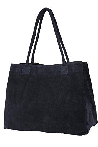 cuir main Sac en daim portés Sac pour foncé velours Shopper WL810 femme épaule Bleu à en AMBRA Moda qzpwnXgt