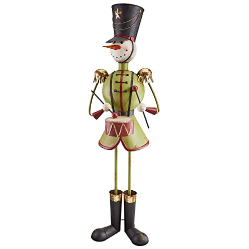 Design Toscano Christmas Decorations - North Pole Snowman Band Metal Holiday Decor Statue: Drummer Boy