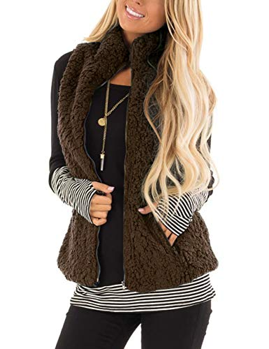 - MEROKEETY Women's Casual Sherpa Fleece Lightweight Fall Warm Zipper Vest with Pockets Coffee