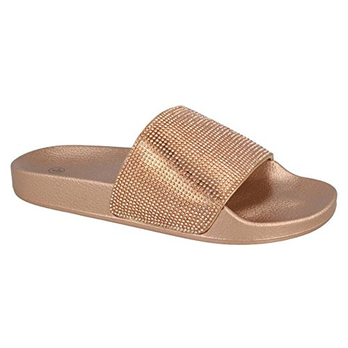 Spot On Womens/Ladies Mid Platform Diamante Mule Sliders Rose Gold Textile qkXKm9cZR