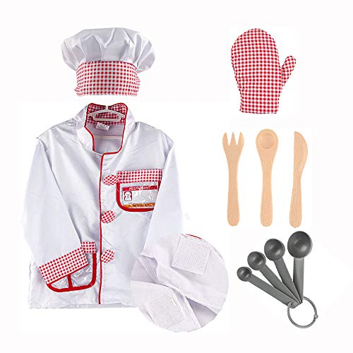 iPlay, iLearn Chef Role Play Costume, Cooking Dress Up Clothes, Kitchen Pretend Baking Play Set with Hat, Oven Mitt, Knife, Halloween Gift for Ages 2, 3, 4, 5, 6 Years -