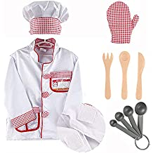 iPlay, iLearn Chef Role Play Costume, Cooking Dress Up Set, Kitchen Pretend Play with Hat, Oven Mitt, Knife, Fork, Spoon, Educational Toy for Ages 2, 3, 4, 5, 6 Years Old, Kids, Toddlers, Boys & Girls