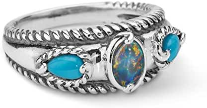 Carolyn Pollack Sterling Silver Sleeping Beauty Turquoise Opal Triple Band Ring