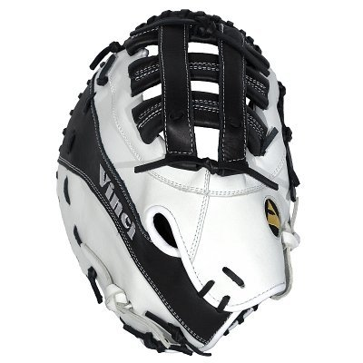Baseball Glove model JBV04 Vinci Black/White: 13 inch Kip Leather First Base Mitt Reinforced Dual Post Web