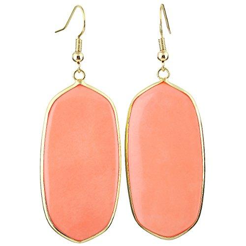 SUNYIK Women's Orange Howlite Turquoise Oval Dangle Earrings Gold Plated