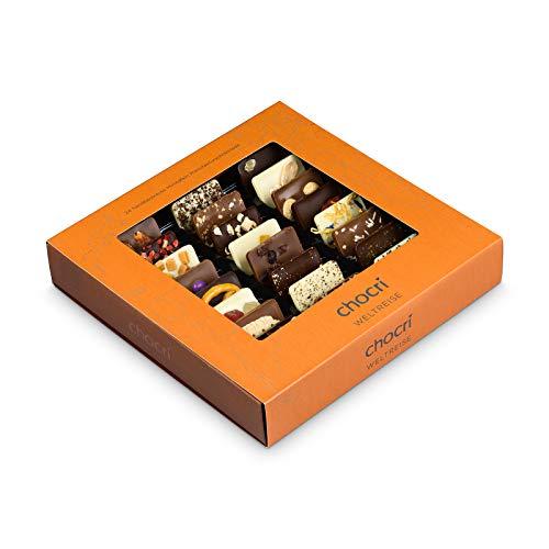 """chocri """"Weltreise"""" - 24 Schokoladen-Täfelchen in einer Geschenkbox - handbestreut mit Zutaten aus verschiedenen Regionen der Welt - Fairtrade-Kakao - perfektes Geschenk für Frauen und Männer, für die"""