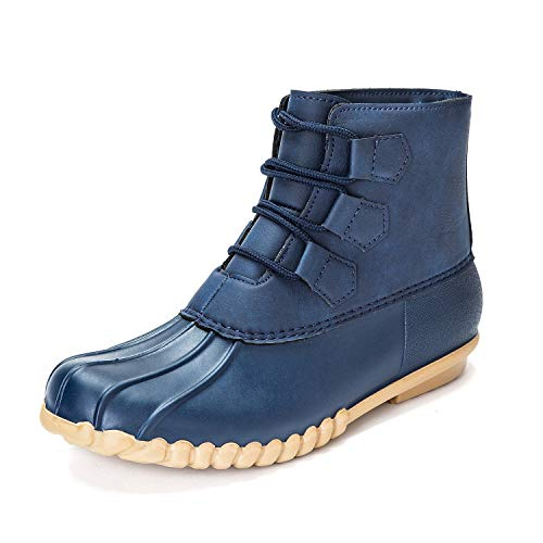 DKSUKO Women's Duck Boots Lace Up Waterproof Ankle Rain Boots (7 B(M) US, Blue) ()