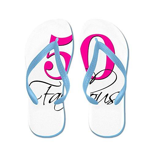 Cafepress 50 En Fabelachtige Roze Zwart - Flip Flops, Grappige Thong Sandalen, Strand Sandalen Caribbean Blue