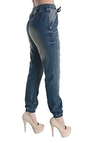 American Bazi Vintage Frayed Denim Jogger Pants RJJ501 - BLUE - X-Large D12D