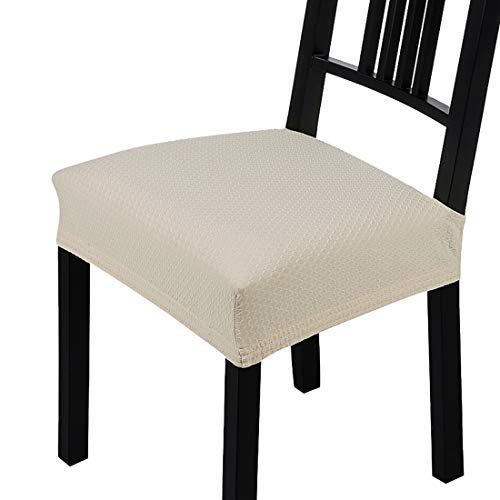 Homaxy Jacquard Dinning Chair Seat Covers Stretch Dining Room Square Chair Cushion Cover Durable Protectors Set of 4, Beige Slipcover