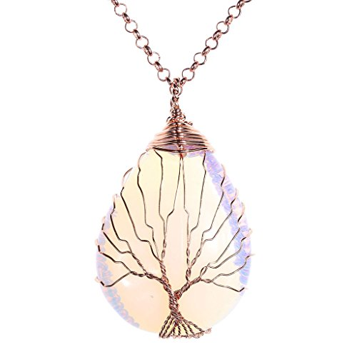 Mother Earth Costume Ideas (Top Plaza Wire Wrapped Tree of Life Natural Gemstone Teardrop Pendant Necklace Healing Crystal Chakra Jewelry for Women - Synthetic)
