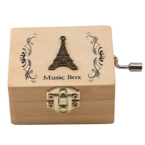 MUBODH Wooden Antique Carved Animal Music Box Sky City Music Box Wooden Hand Crank Theme Music Tower by MUBODH
