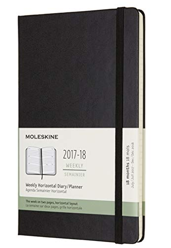 Moleskine 18 Month Weekly Horizontal Planner, Large, Black, Hard Cover (5 x 8.25)