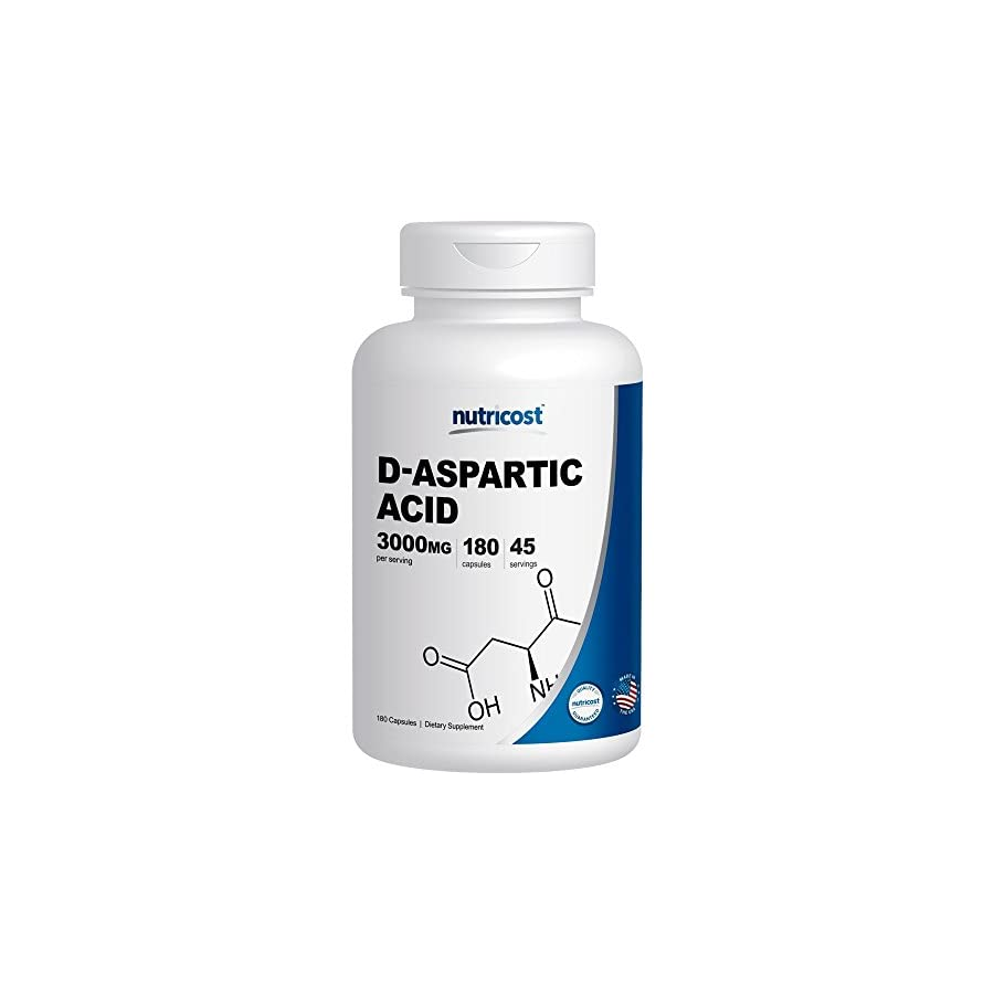 Nutricost D Aspartic Acid Capsules (180 Capsules) (3000mg Serving)