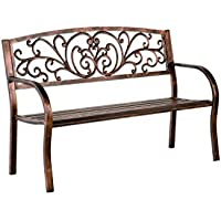 Plow & Hearth Blooming Garden Bench, Metal, Bronze Finish, 50 in L x 17 1/2 in W x 34 1/2 in H