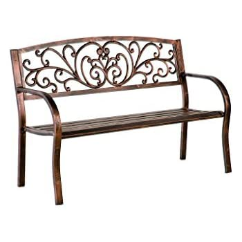 Enjoyable Blooming Patio Garden Bench Park Yard Outdoor Furniture Iron Metal Frame Elegant Bronze Finish Sturdy Durable Construction Scrollwork Design Easy Machost Co Dining Chair Design Ideas Machostcouk