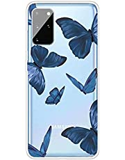 Miagon Transparent Case for Samsung Galaxy A41,Blue Butterfly Pattern Creaive Funny Clear Soft Ultra-Thin Flexible Silicone Drop-Protection Fully Protective Cover Case