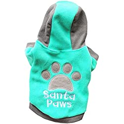 Hpapadks Pet Cat Dog Winter Hooded Jacket,Winter Casual Pets Dog Clothes Warm Coat Jacket Clothing for Dogs Purple/Green/Blue/Red/Xs/S/M/L/XL