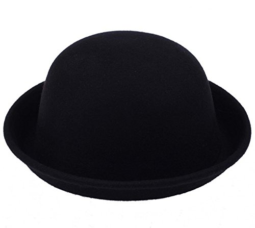 Fancyland 1 Stk. Unisex Melone Mütze Filz Hut Filzhut Bowler Chaplin Hat Reithut (Schwarz-8)