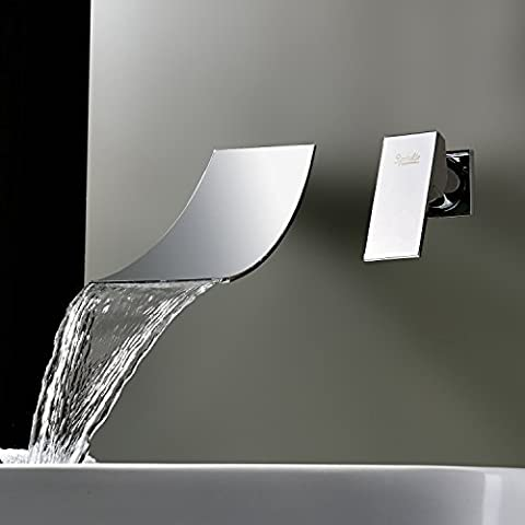 Lightinthebox Waterfall Widespread Chrome Finish Brass Bathroom Faucet Vanity Sink Mixer Tap Two Holes Wall-mounted Tub - Wall Mount Widespread Sink