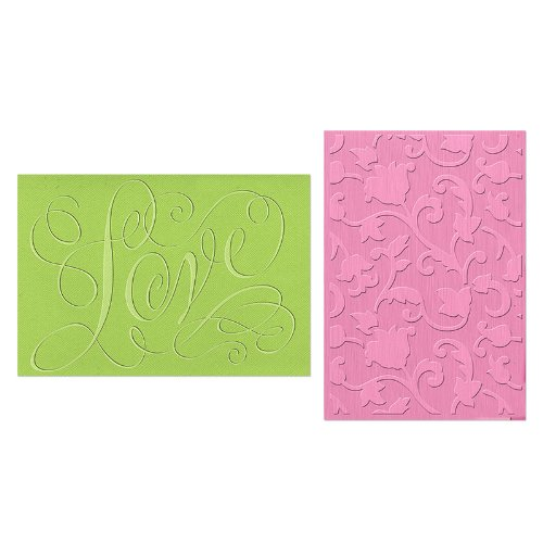 Sizzix 658354 Textured Impressions Embossing Folders Love and Swirling Vines Set by Brenda Walton (2 Pack)