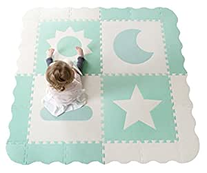 """Interlocking Foam Baby Play Mat Tiles - Non-Toxic, Extra Large Thick Floor Squares, 61"""" x 61"""" Duck Egg Blue & White Nursery Mat, Safe & Protective for Infants, Toddlers, Kids"""