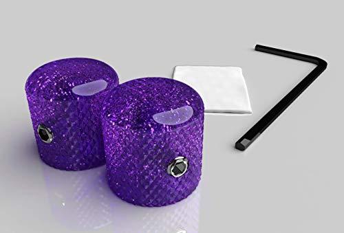 Xentric Guitars - METAL FLAKE Purple Glitter Guitar Knobs 6mm (2 Knobs, Chrome Set Screw)